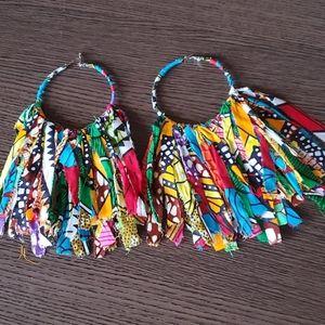 Ankara strips earrings